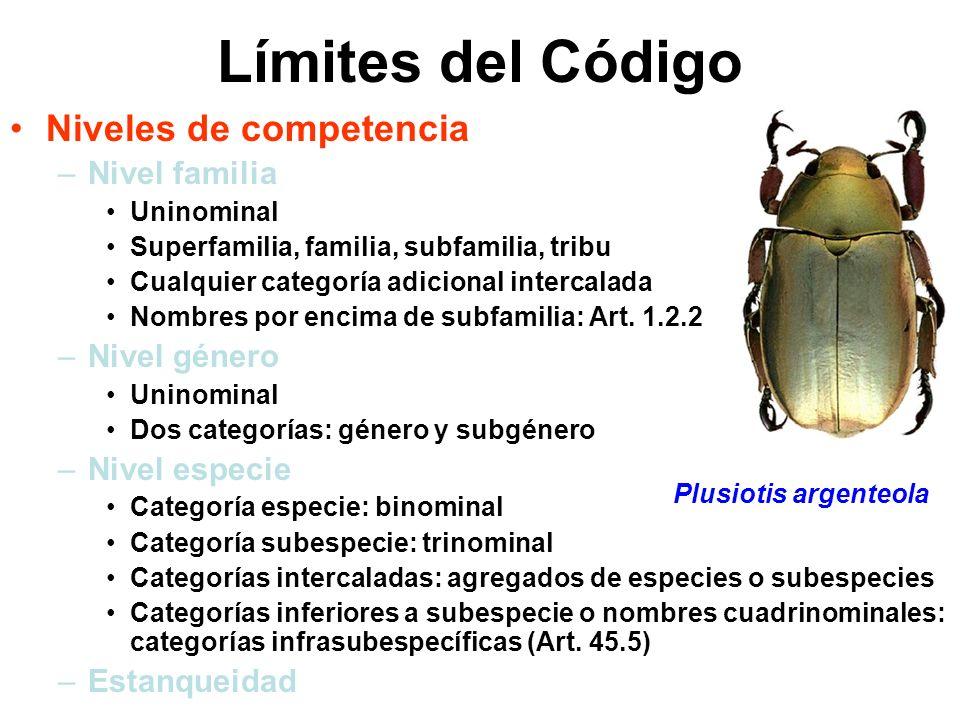Límites del Código Niveles de competencia Nivel familia Nivel género