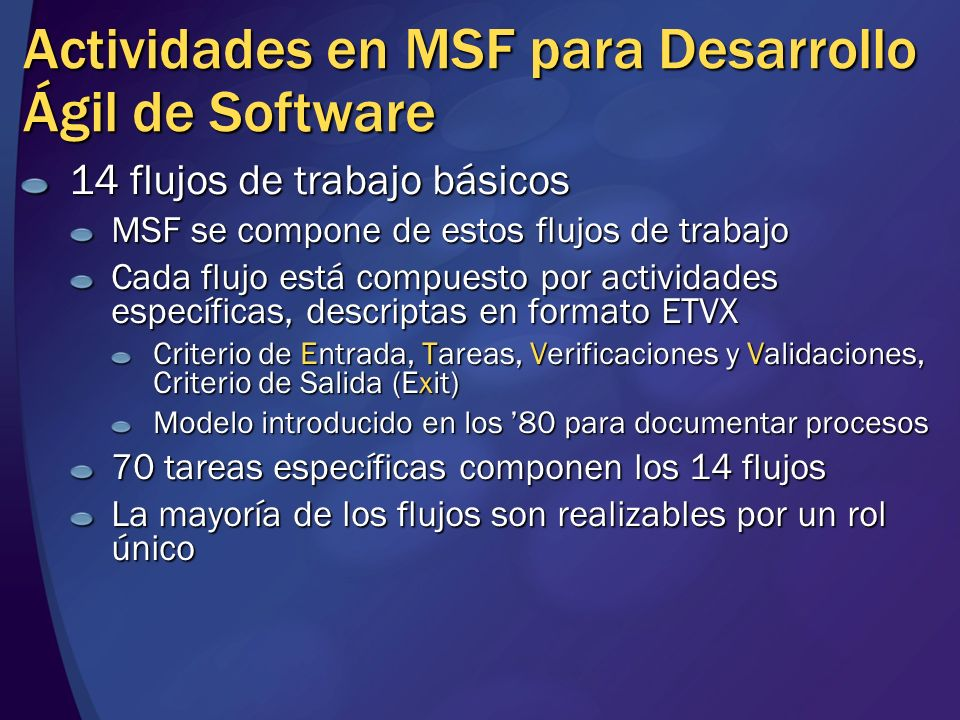 Actividades en MSF para Desarrollo Ágil de Software