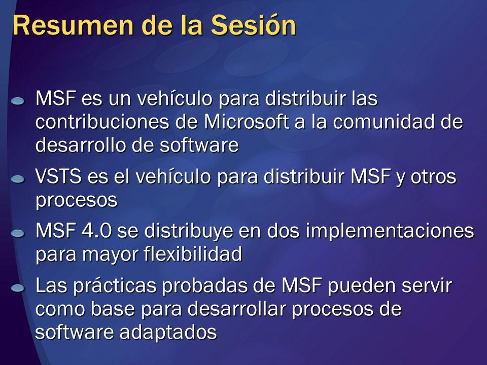 Resumen de la Sesión MSF es un vehículo para distribuir las contribuciones de Microsoft a la comunidad de desarrollo de software.