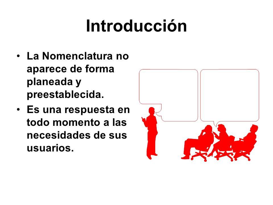 IntroducciónLa Nomenclatura no aparece de forma planeada y preestablecida. Es una respuesta en todo momento a las necesidades de sus usuarios.