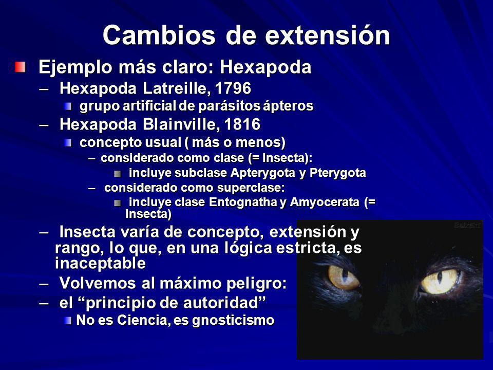 Cambios de extensión Ejemplo más claro: Hexapoda