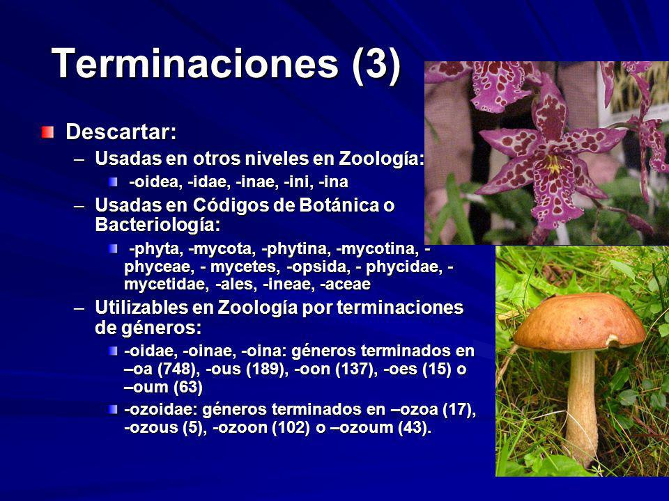 Terminaciones (3) Descartar: Usadas en otros niveles en Zoología: