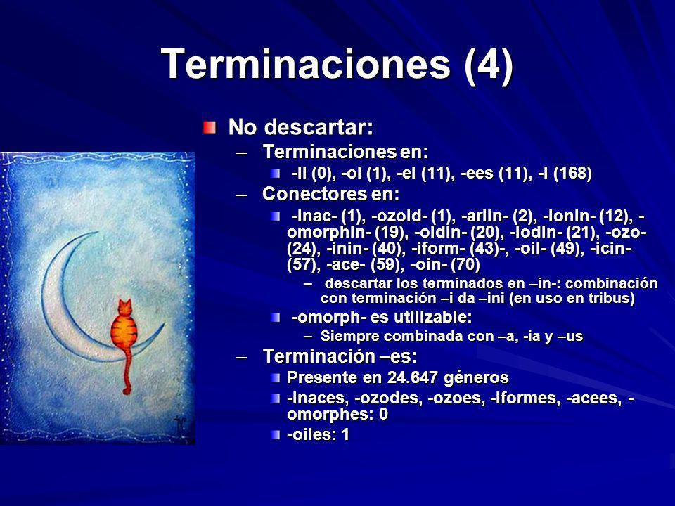 Terminaciones (4) No descartar: Terminaciones en: Conectores en:
