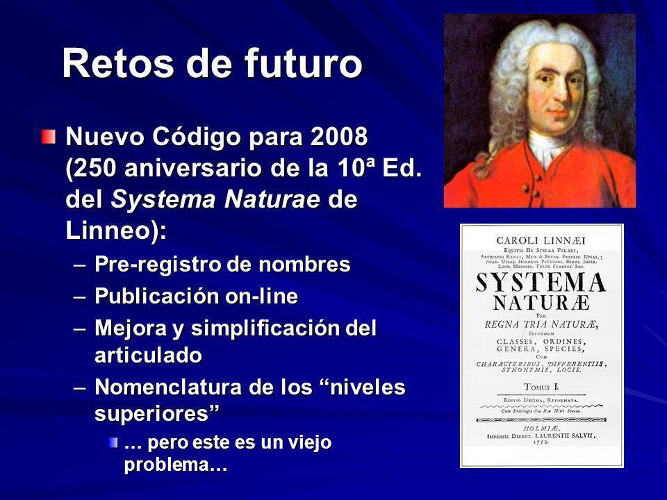 Retos de futuro Nuevo Código para 2008 (250 aniversario de la 10ª Ed. del Systema Naturae de Linneo):