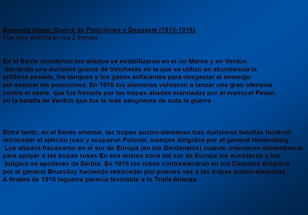 Segunda etapa: Guerra de Posiciones y Desgaste (1915-1916).