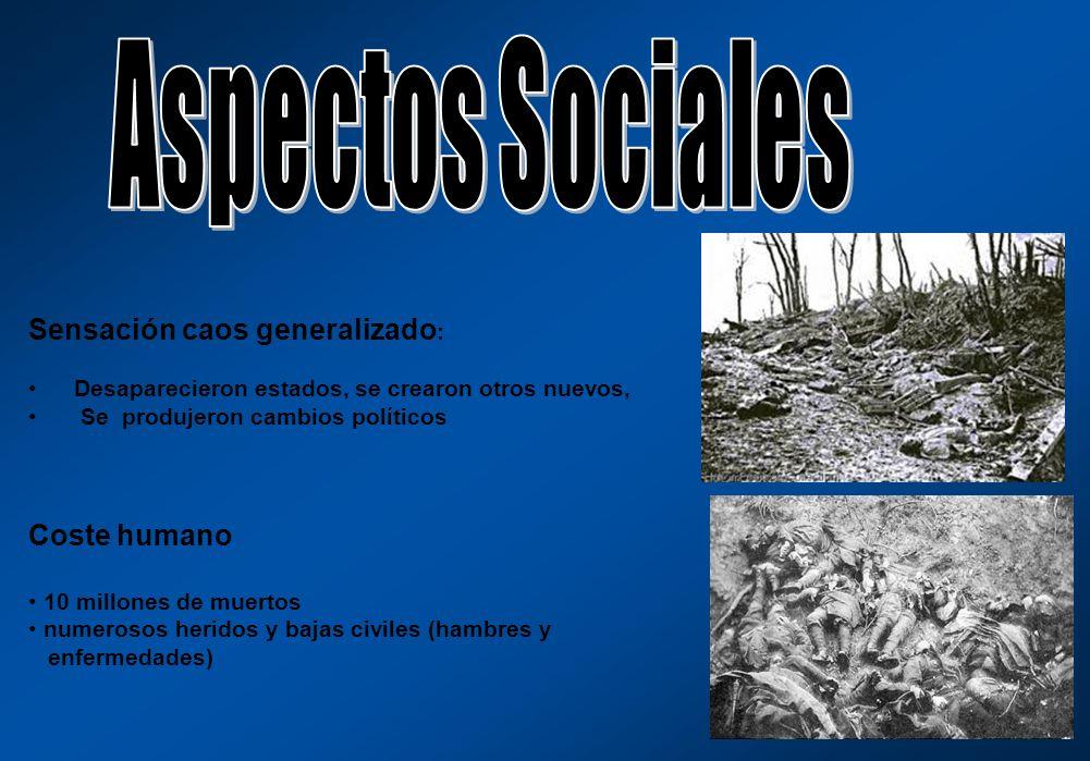 Aspectos Sociales Sensación caos generalizado: Coste humano