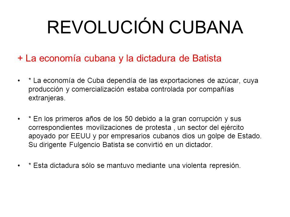 REVOLUCIÓN CUBANA + La economía cubana y la dictadura de Batista