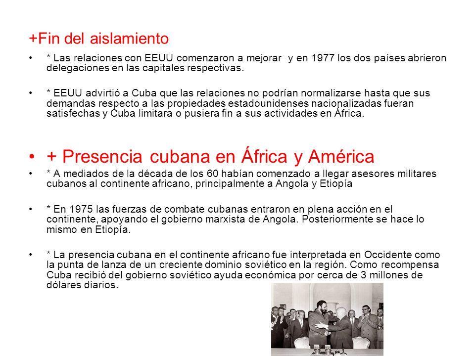 + Presencia cubana en África y América