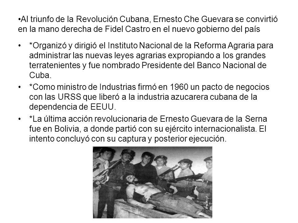 Al triunfo de la Revolución Cubana, Ernesto Che Guevara se convirtió en la mano derecha de Fidel Castro en el nuevo gobierno del país