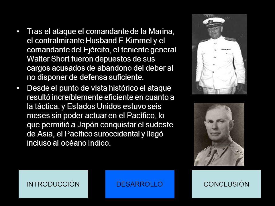 Tras el ataque el comandante de la Marina, el contralmirante Husband E