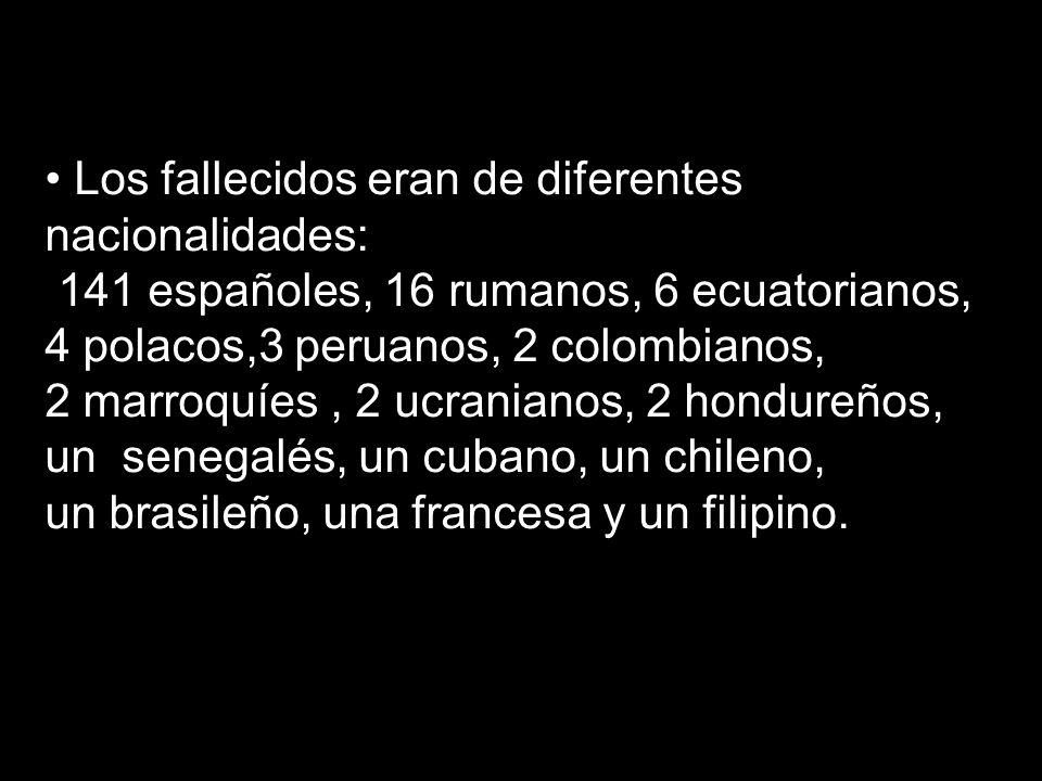 Los fallecidos eran de diferentes nacionalidades: