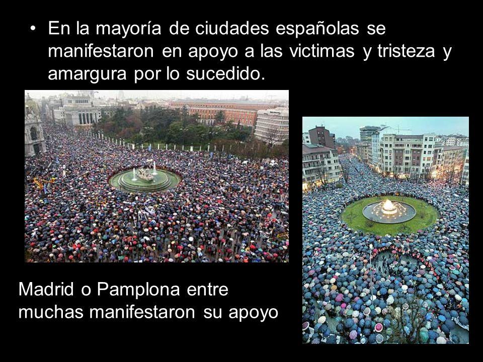 En la mayoría de ciudades españolas se manifestaron en apoyo a las victimas y tristeza y amargura por lo sucedido.