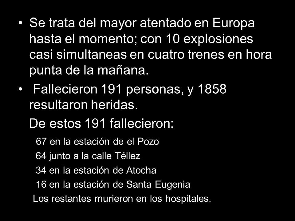Fallecieron 191 personas, y 1858 resultaron heridas.