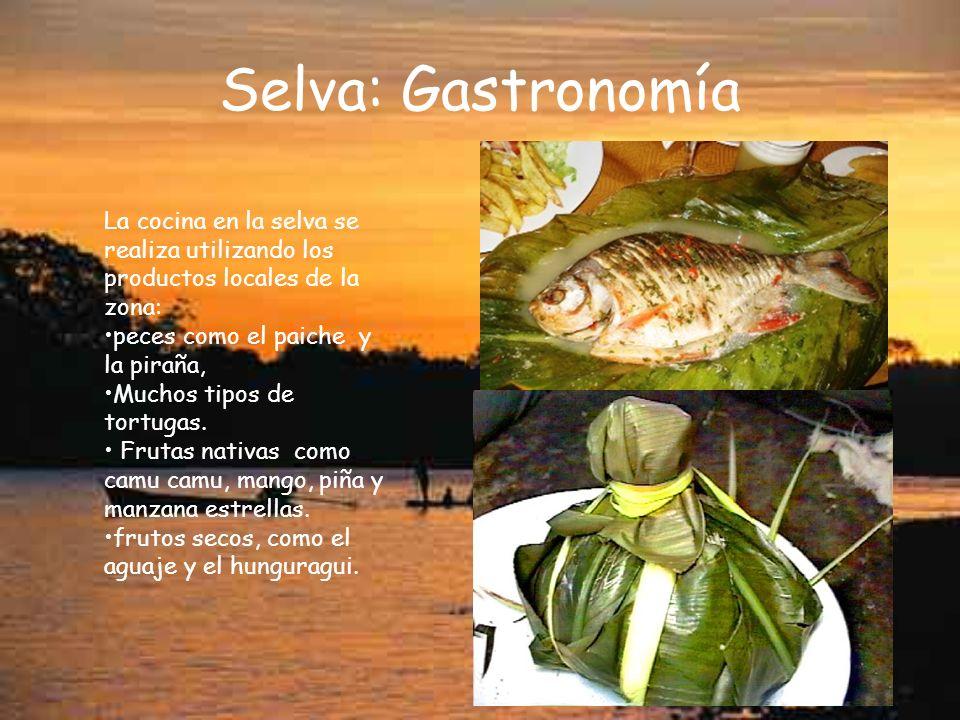 Selva: Gastronomía La cocina en la selva se realiza utilizando los productos locales de la zona: peces como el paiche y la piraña,