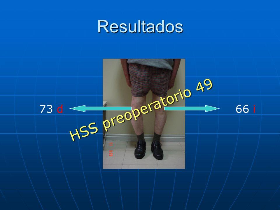 Resultados HSS preoperatorio 49 73 d 66 i