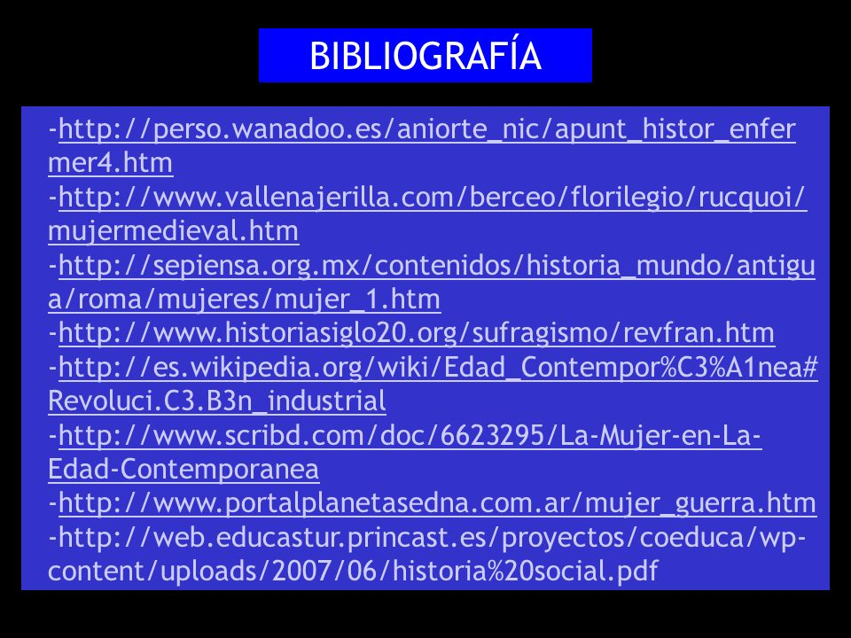 BIBLIOGRAFÍA http://perso.wanadoo.es/aniorte_nic/apunt_histor_enfermer4.htm.