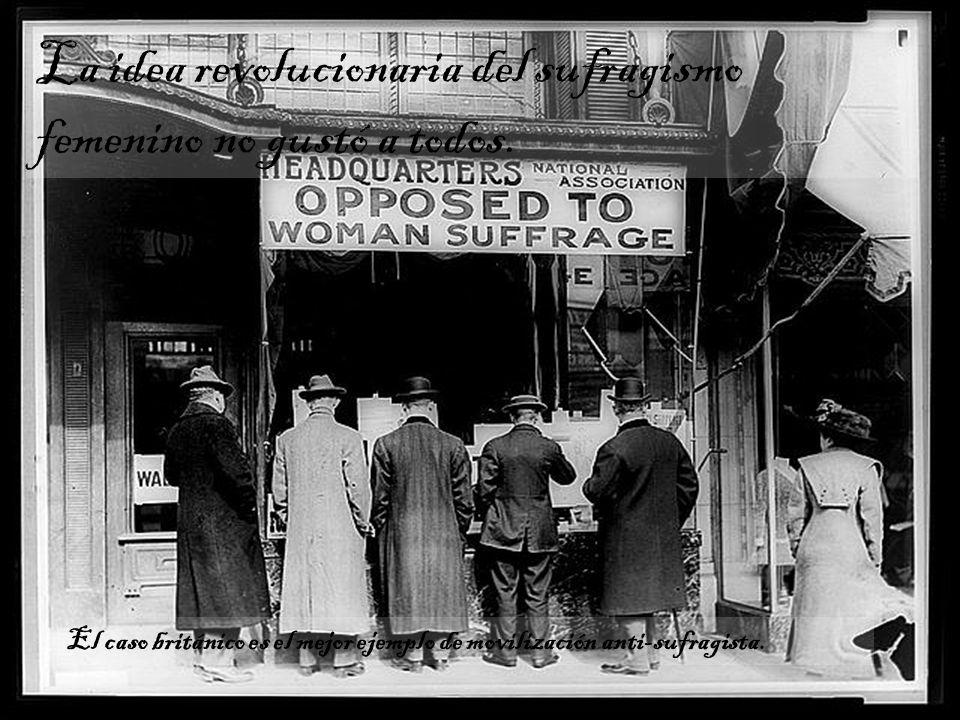 La idea revolucionaria del sufragismo femenino no gustó a todos.