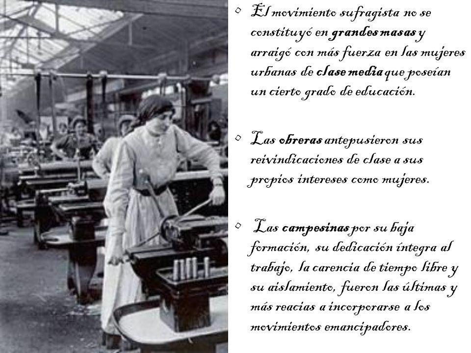 El movimiento sufragista no se constituyó en grandes masas y arraigó con más fuerza en las mujeres urbanas de clase media que poseían un cierto grado de educación.