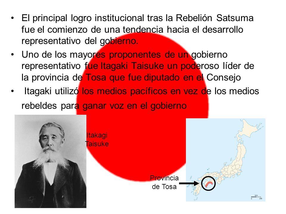 El principal logro institucional tras la Rebelión Satsuma fue el comienzo de una tendencia hacia el desarrollo representativo del gobierno.