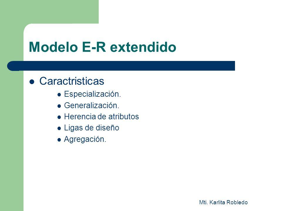 Modelo E-R extendido Caractristicas Especialización. Generalización.
