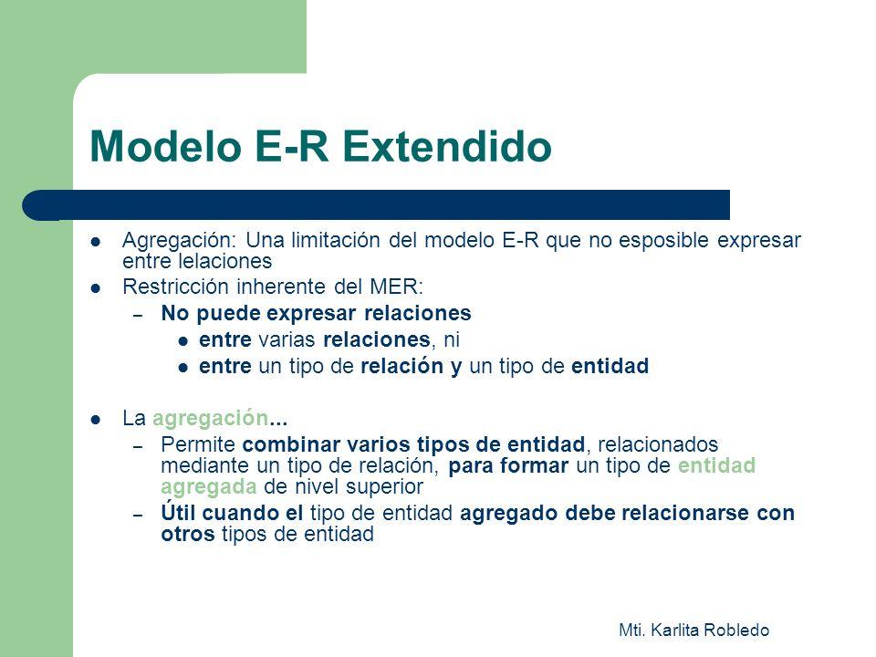 Modelo E-R ExtendidoAgregación: Una limitación del modelo E-R que no esposible expresar entre lelaciones.