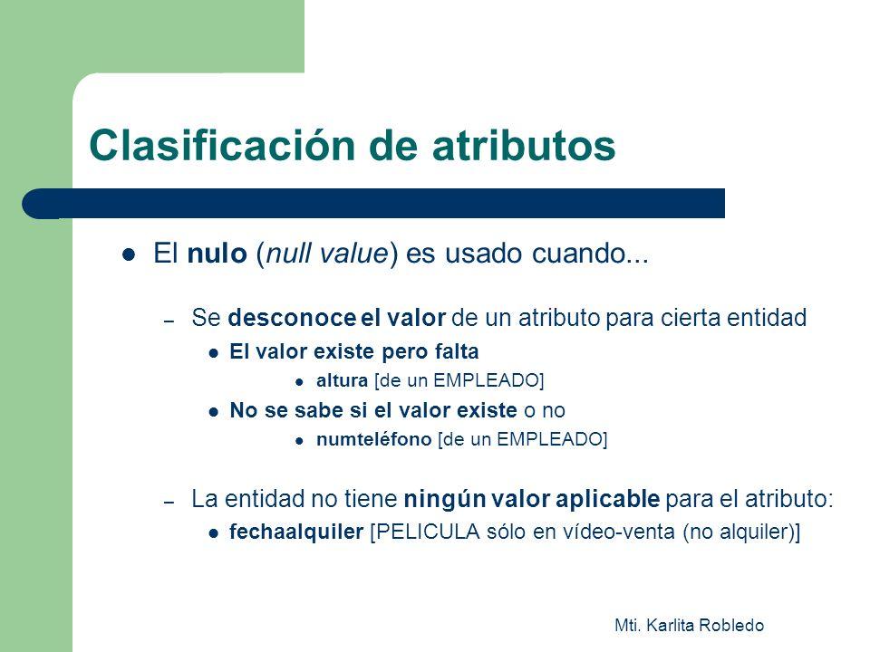 Clasificación de atributos