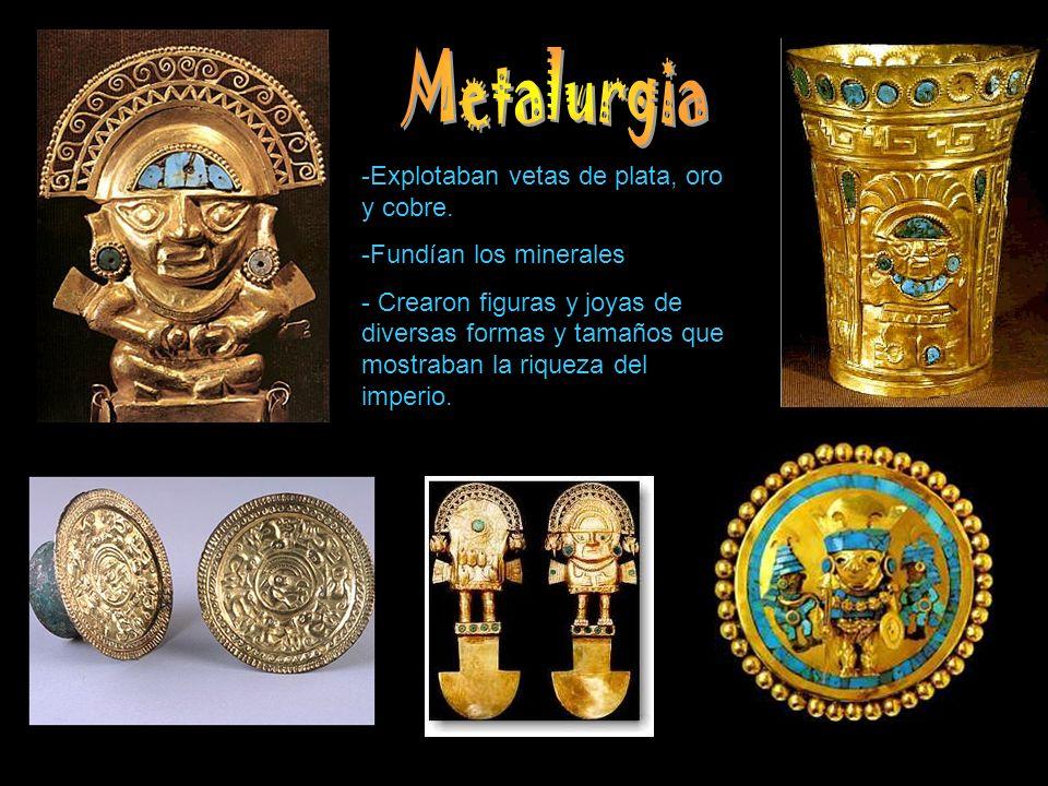 Metalurgia Explotaban vetas de plata, oro y cobre.