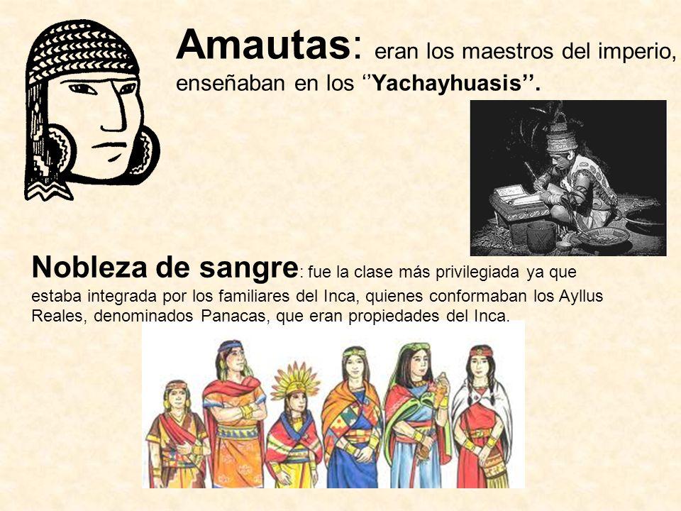 Amautas: eran los maestros del imperio, enseñaban en los ''Yachayhuasis''.