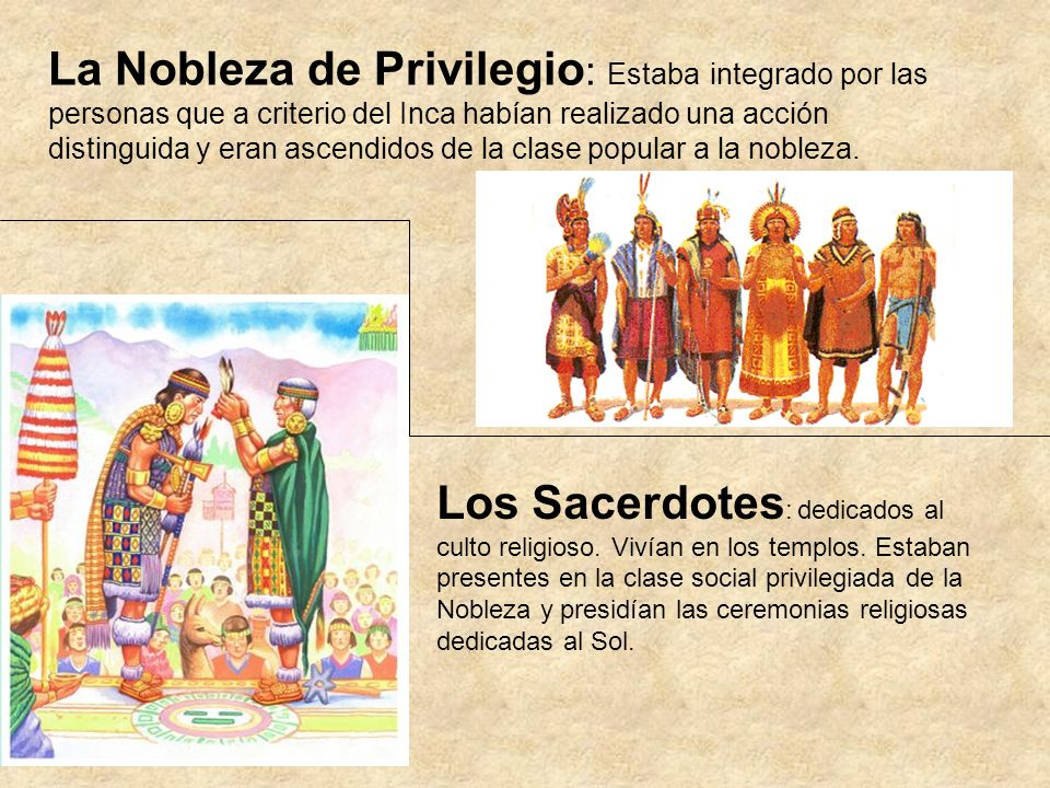 La Nobleza de Privilegio: Estaba integrado por las personas que a criterio del Inca habían realizado una acción distinguida y eran ascendidos de la clase popular a la nobleza.
