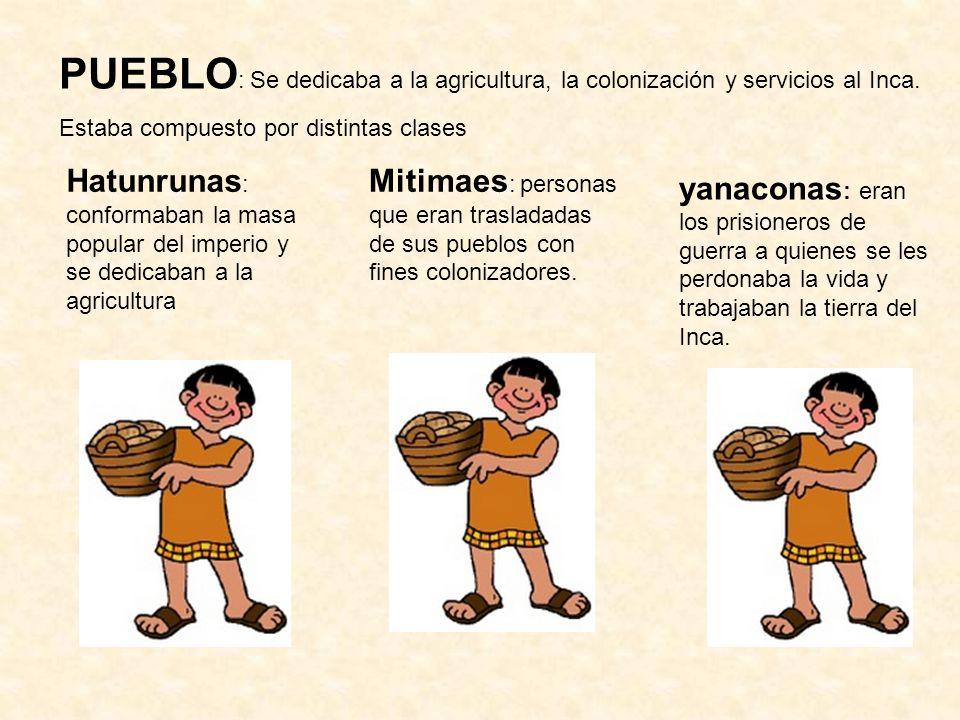 PUEBLO: Se dedicaba a la agricultura, la colonización y servicios al Inca.