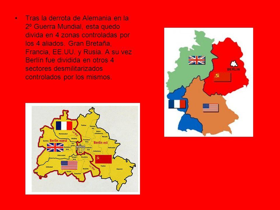 Tras la derrota de Alemania en la 2º Guerra Mundial, esta quedo divida en 4 zonas controladas por los 4 aliados.