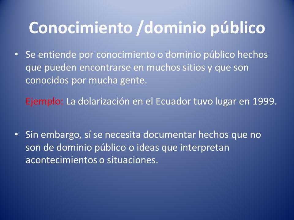 Conocimiento /dominio público