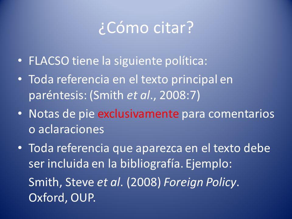 ¿Cómo citar FLACSO tiene la siguiente política: