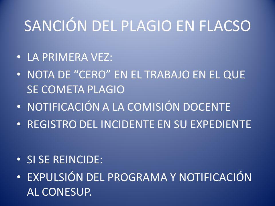 SANCIÓN DEL PLAGIO EN FLACSO