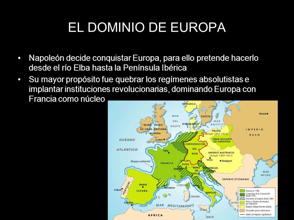 EL DOMINIO DE EUROPANapoleón decide conquistar Europa, para ello pretende hacerlo desde el río Elba hasta la Península Ibérica.