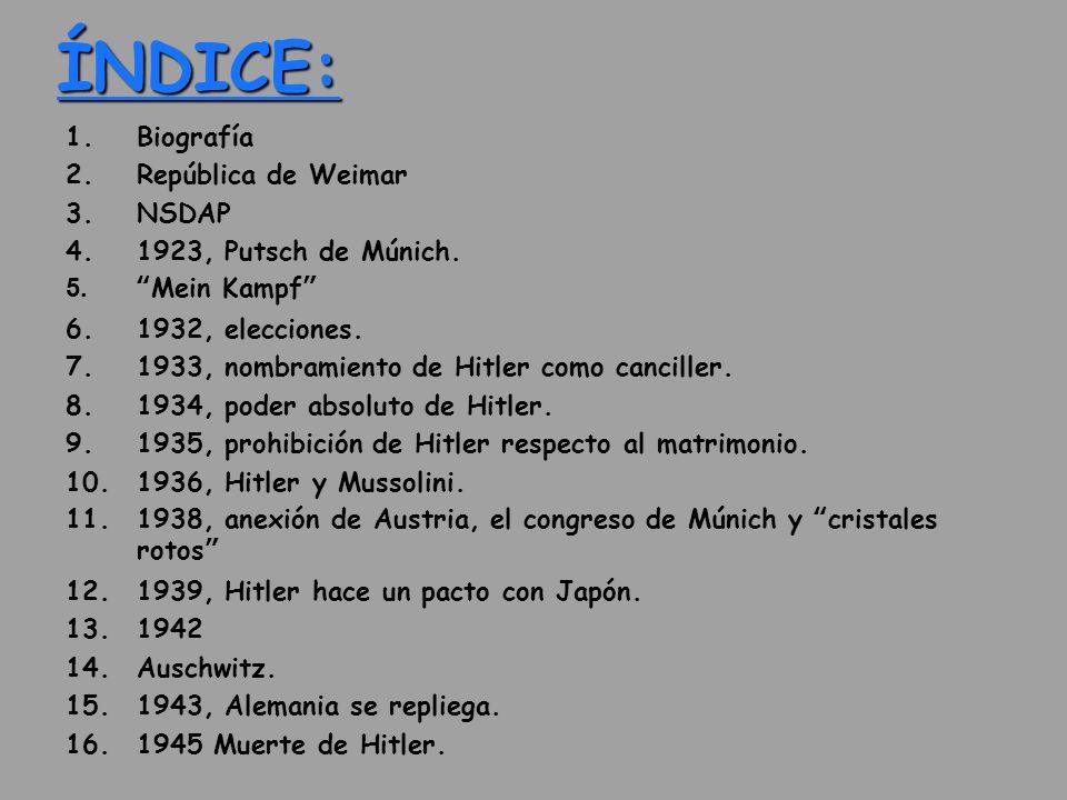 ÍNDICE: Biografía República de Weimar NSDAP 1923, Putsch de Múnich.