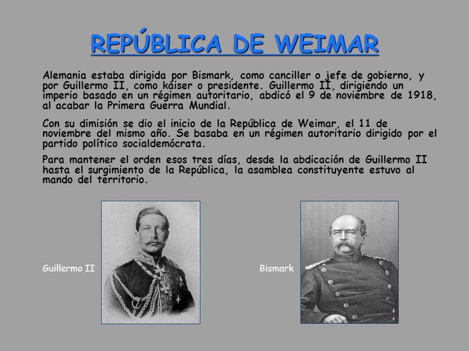 REPÚBLICA DE WEIMAR Guillermo II Bismark