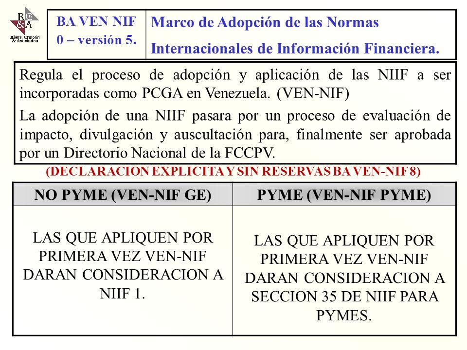 (DECLARACION EXPLICITA Y SIN RESERVAS BA VEN-NIF 8)