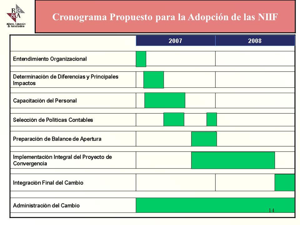 Cronograma Propuesto para la Adopción de las NIIF