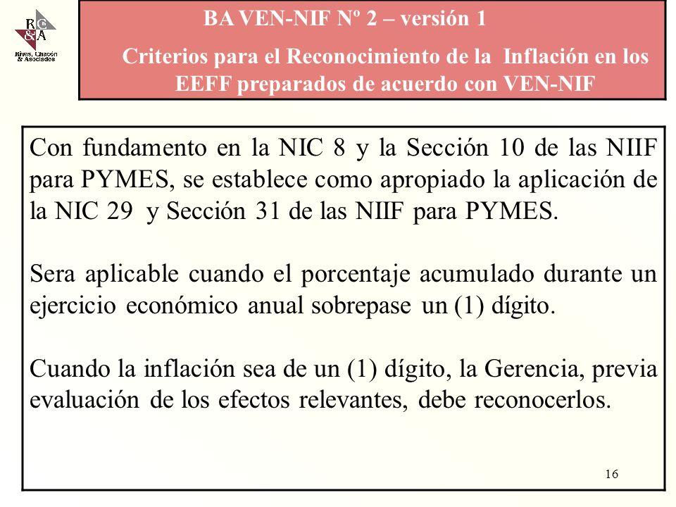 BA VEN-NIF Nº 2 – versión 1 Criterios para el Reconocimiento de la Inflación en los EEFF preparados de acuerdo con VEN-NIF.
