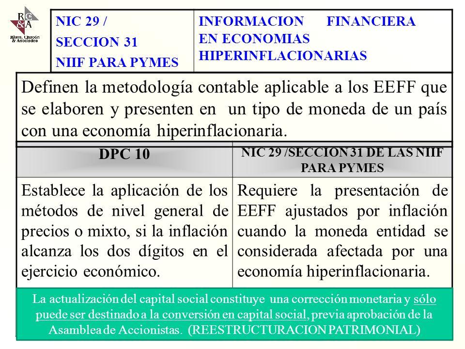 NIC 29 /SECCION 31 DE LAS NIIF PARA PYMES