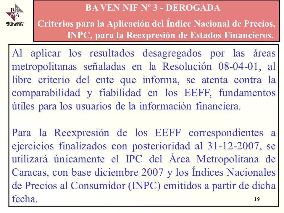 BA VEN NIF Nº 3 - DEROGADA Criterios para la Aplicación del Índice Nacional de Precios, INPC, para la Reexpresión de Estados Financieros.