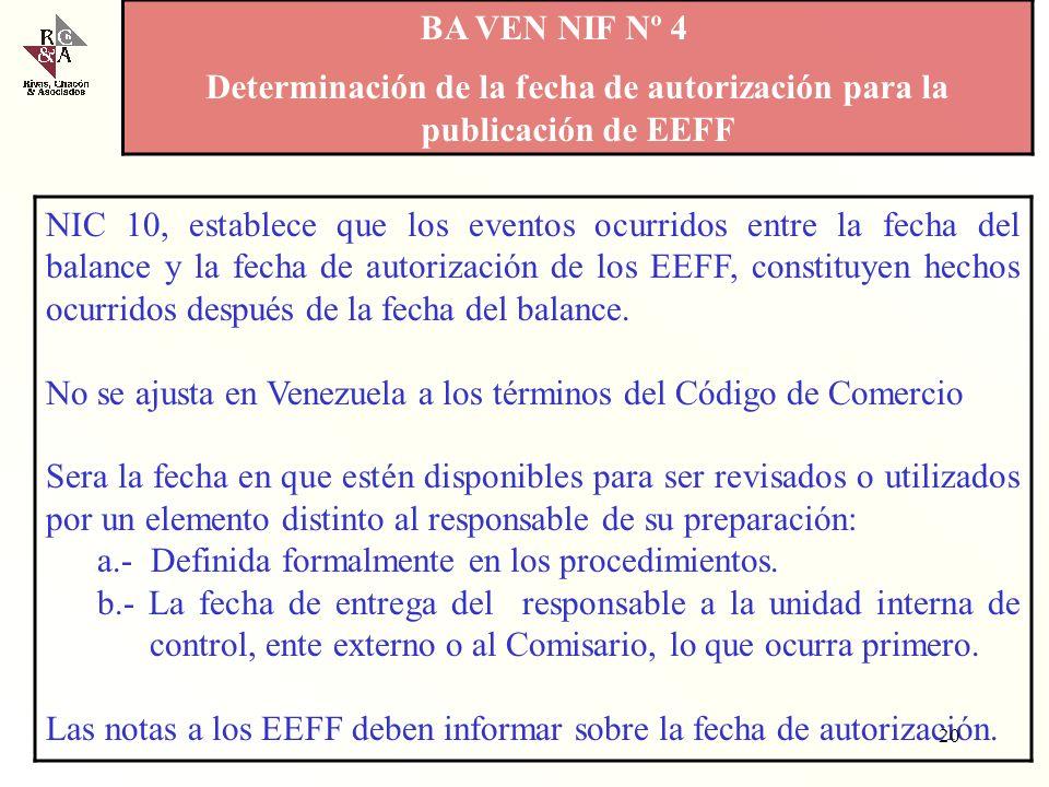 Determinación de la fecha de autorización para la publicación de EEFF