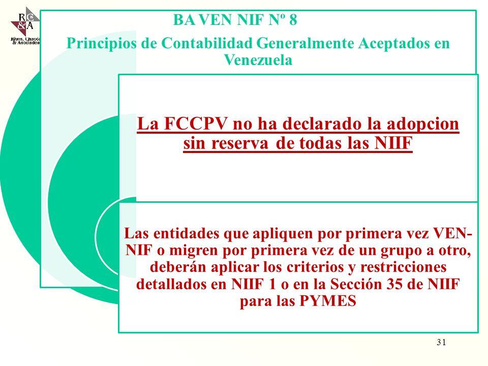 La FCCPV no ha declarado la adopcion sin reserva de todas las NIIF