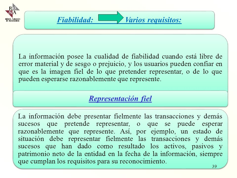 Fiabilidad: Varios requisitos: