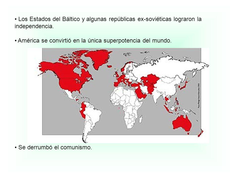 Los Estados del Báltico y algunas repúblicas ex-soviéticas lograron la independencia.