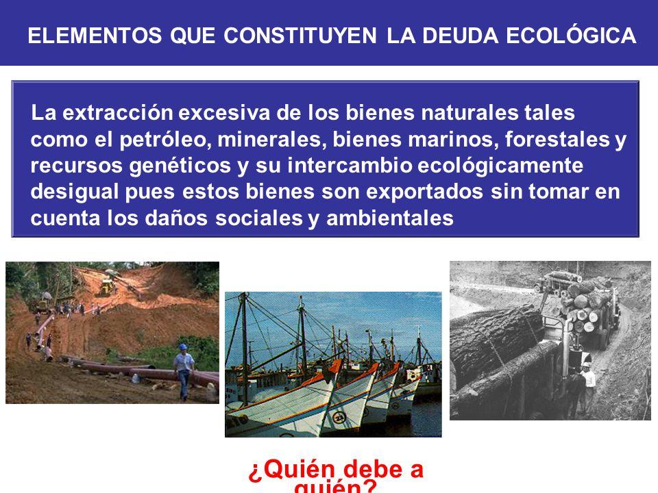 ELEMENTOS QUE CONSTITUYEN LA DEUDA ECOLÓGICA
