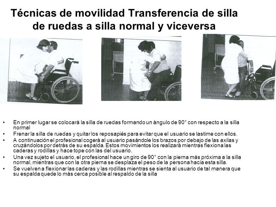 Técnicas de movilidad Transferencia de silla de ruedas a silla normal y viceversa