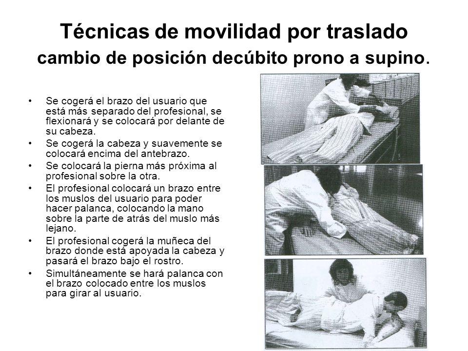 Técnicas de movilidad por traslado cambio de posición decúbito prono a supino.