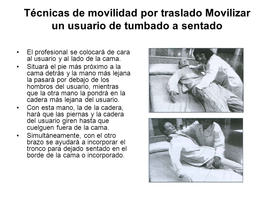 Técnicas de movilidad por traslado Movilizar un usuario de tumbado a sentado
